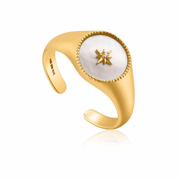 Gold Mother Of Pearl Emblem Signet Ring