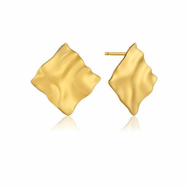 Gold Crush Square Stud Earrings