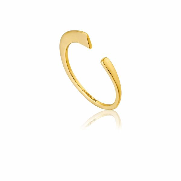 Gold Geometry Curved Adjustable Ring