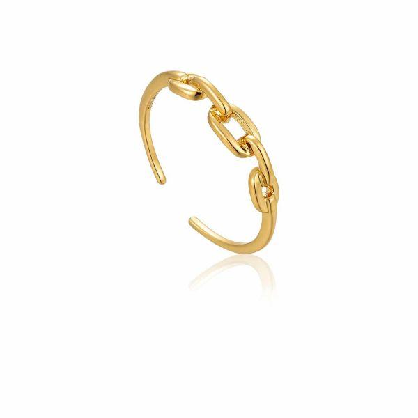 Gold Links Adjustable Ring