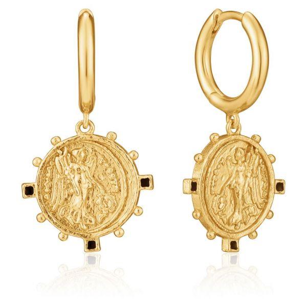 Gold Victory Goddess Mini Hoop Earrings