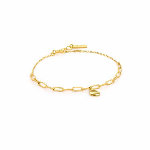 Gold Crush Drop Disc Bracelet
