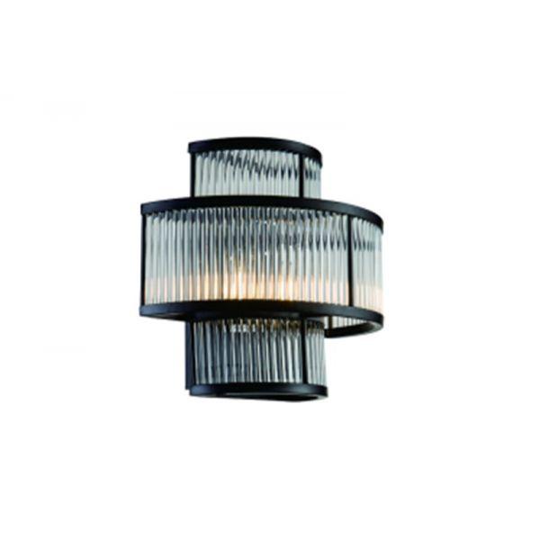 Vegg lampe Corona L35xW20xH28cm Black clear glass