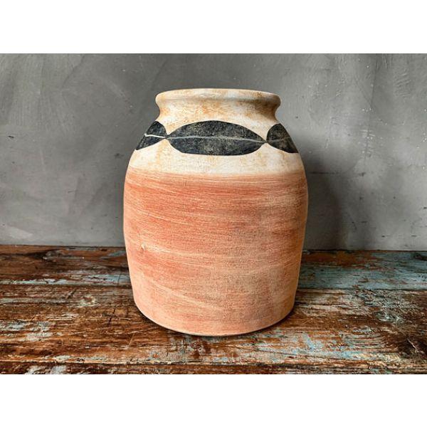 Blomsterkrukke i keramikk mønstret brun/beige/sort