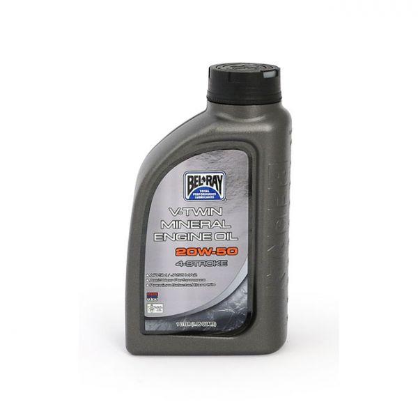 BEL-RAY V-TWIN MINERAL MOTOR OIL, 20W-50. 1L