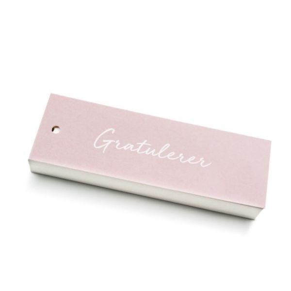"""""""Gratulerer"""" rosa kort 5x15cm"""