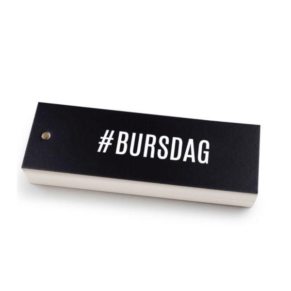 """#Bursdag"" kort svart 5x15cm"