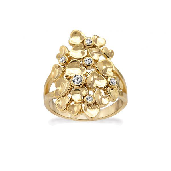Golden Random Hearts - Ring