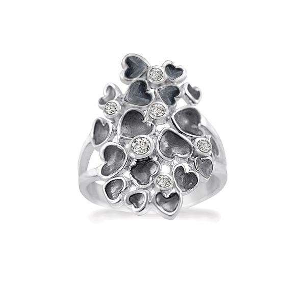 Silver Random Hearts - Ring