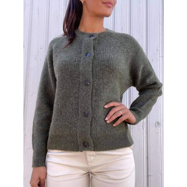 Lulu Knit Short Cardigan - Oliven