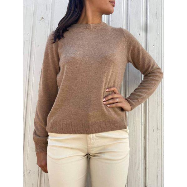 Fudge Cashmere Knit O-Neck - Amphora/Melange