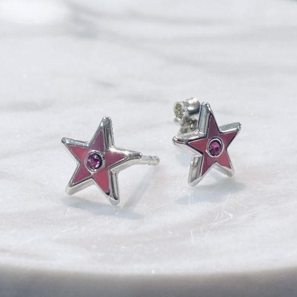 Barneørepynt - Rosa stjerner