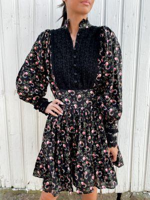 Cotton Slub Mini Dress - Black Rose Field