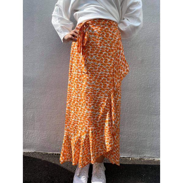Milly Wrap Skirt Long - Orange Flowers
