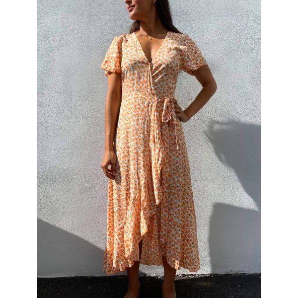 Milly Wrap Dress Long - Orange Flowers