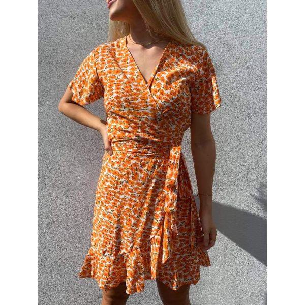 Milly Wrap Dress Short - Orange Flowers