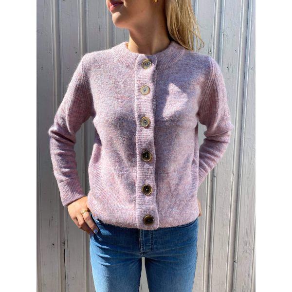 Sia Knit Cardigan - Chalk Pink/Melange