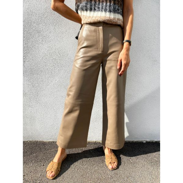 Roxy Leather Trousers - Pine Bark