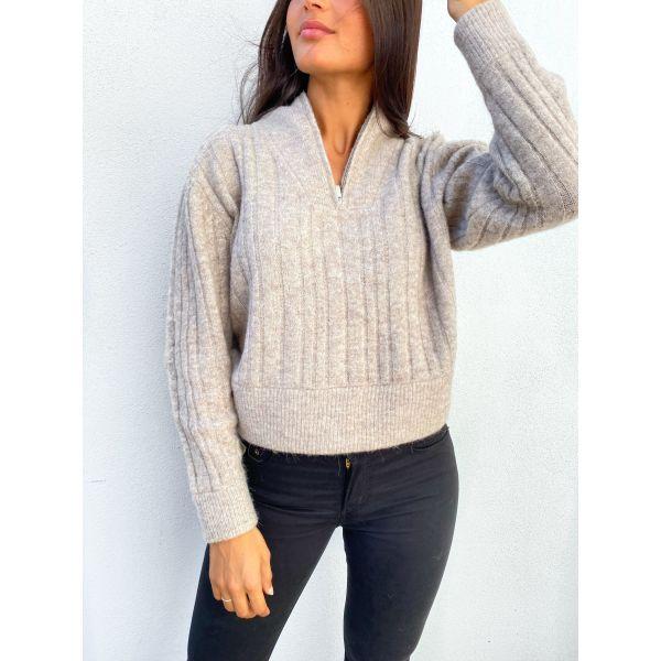 Alpha zipper pullover - warm sand mel