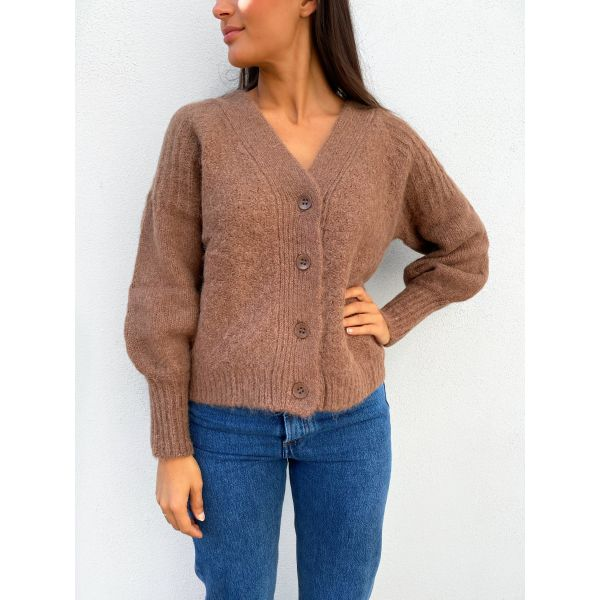 Soft Knit Cardigan - Brown
