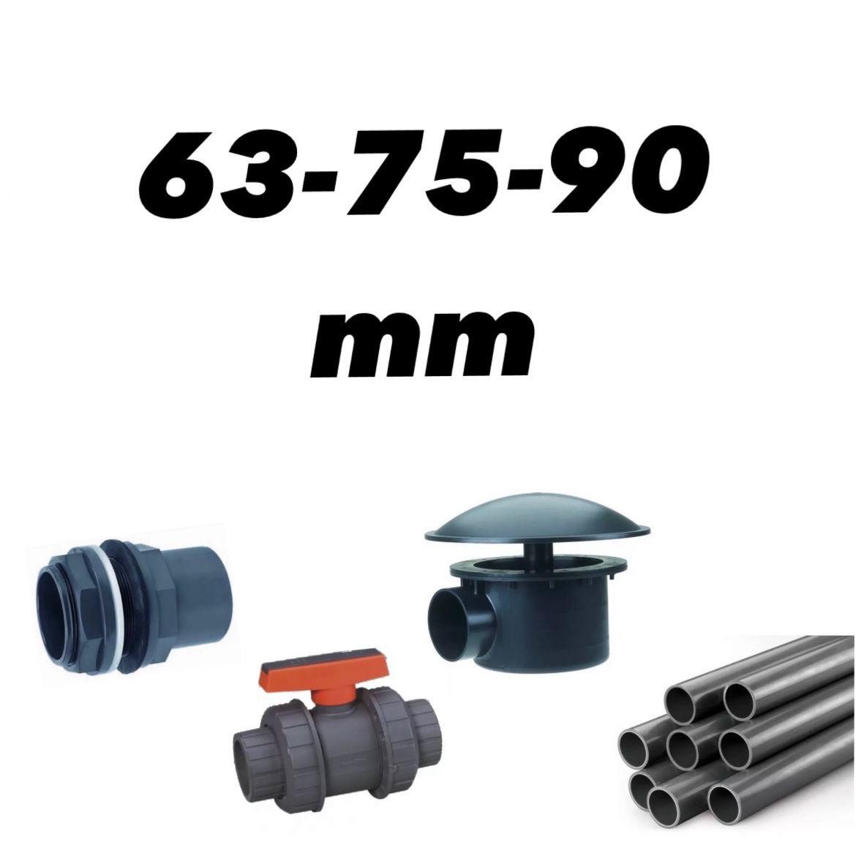 Div. 63, 75 og 90mm rørdeler