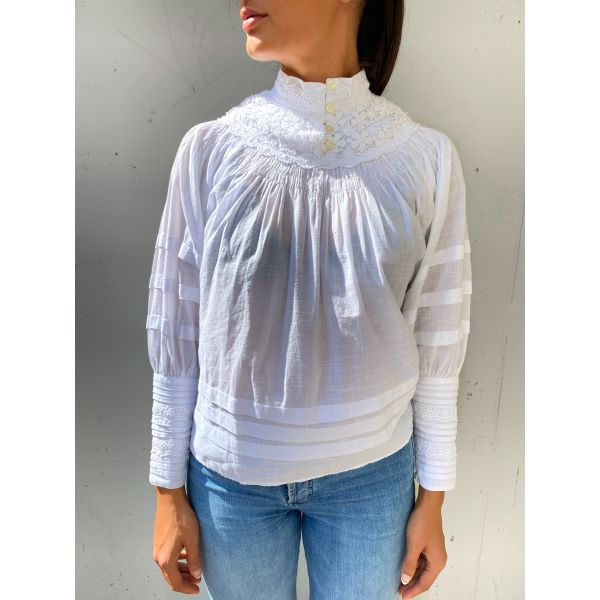 Cotton Slub Pleast Blouse - White