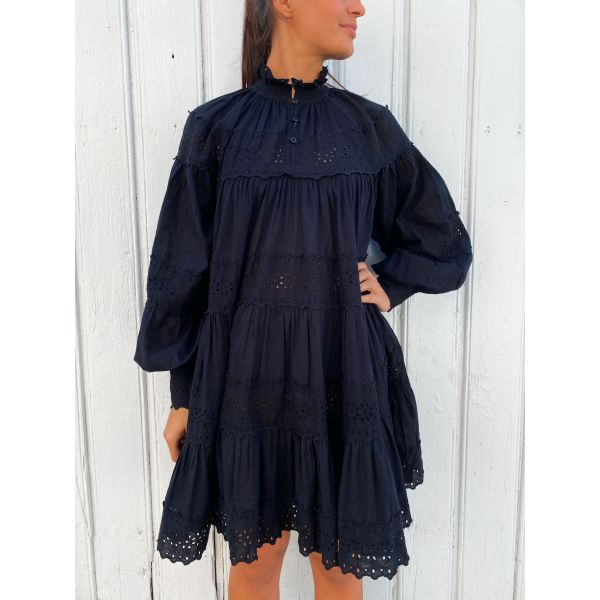 Cotton slub shift dress - Black