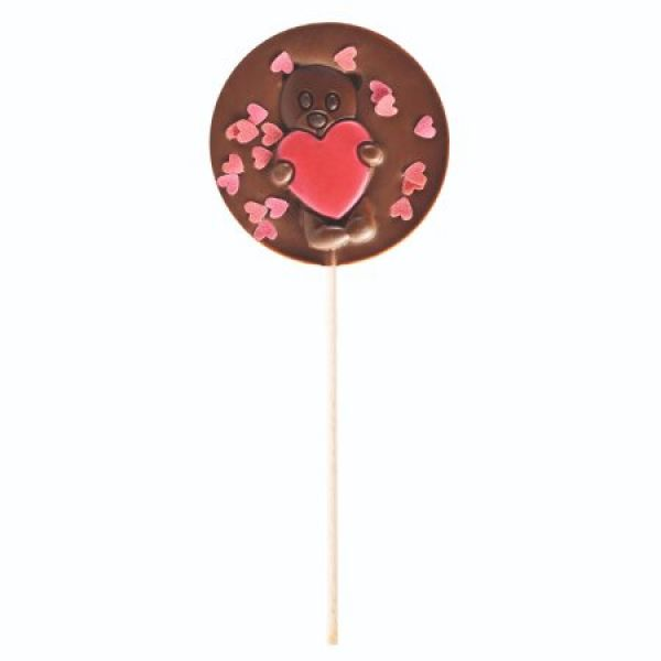 Milk Chocolate Lollipop with Teddy Bear with Heart