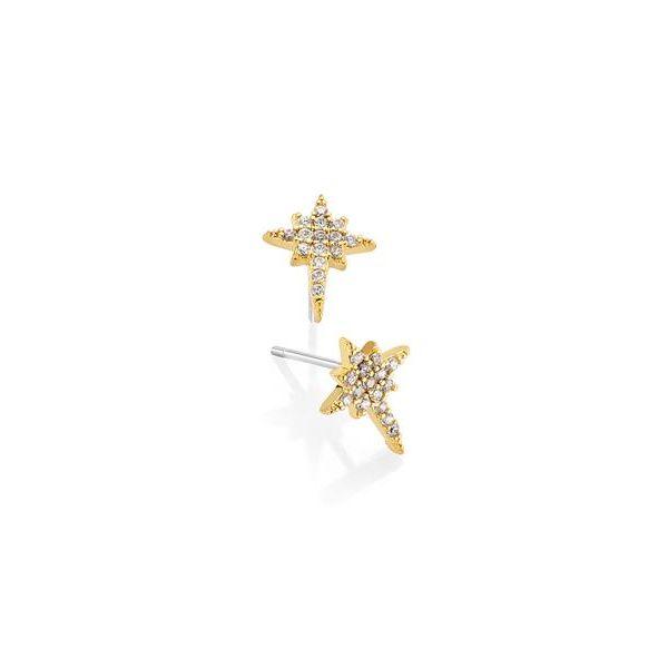 Gullbelagt stjerne ørepynt
