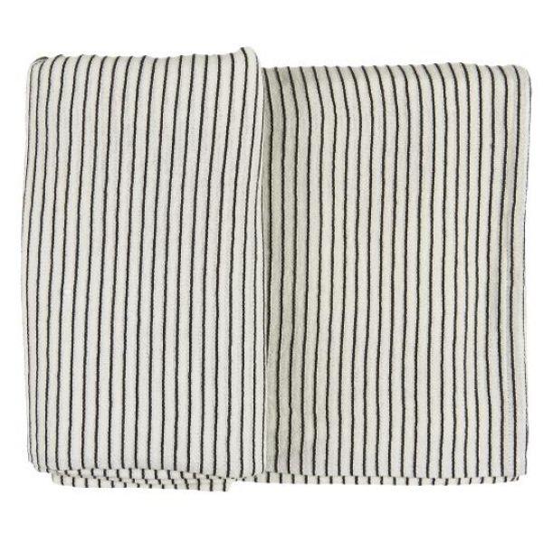 Duk hvit m/sorte striper