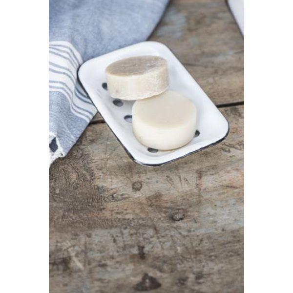 Såpeskål hvit emalje 2 delt
