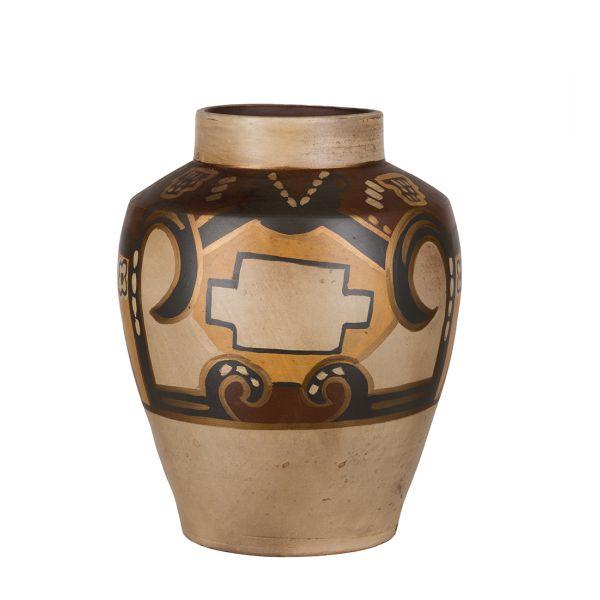 Vase Paphos bruntoner/gull m/mønster