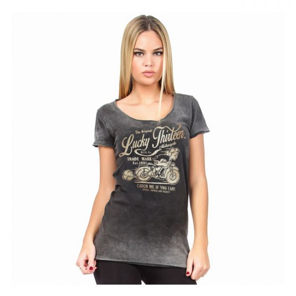 LUCKY 13 CATCH ME T-SHIRT WASHED BLACK