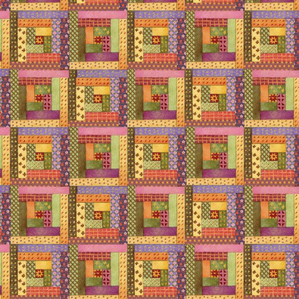 Cats and Quilts log cabin