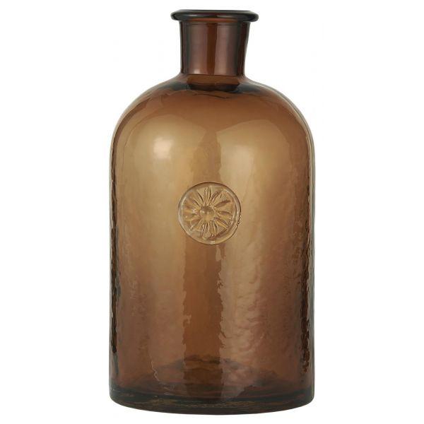 Apotekerflaske brun m/blomsteremblem stor