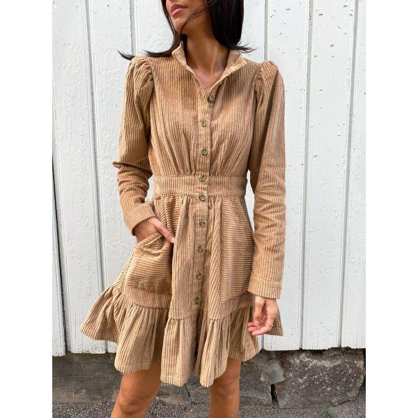 Corduroy Mini Dress - Beige