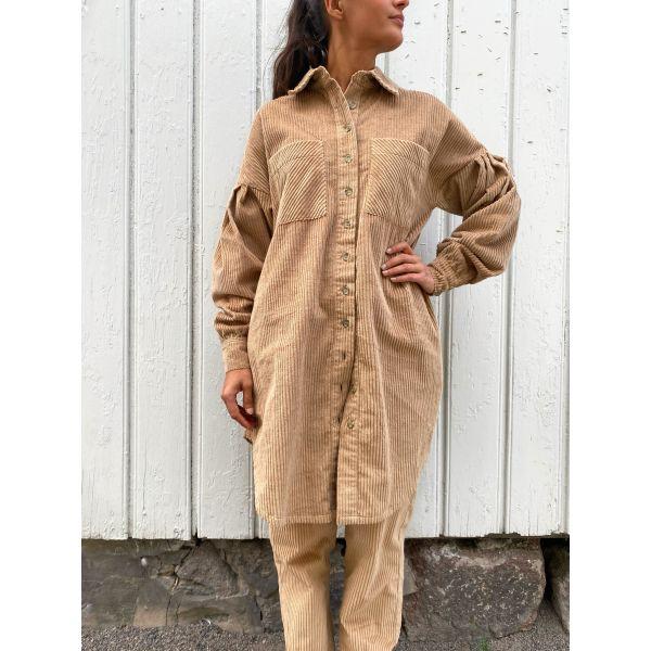 Corduroy Shirt Dress - Beige