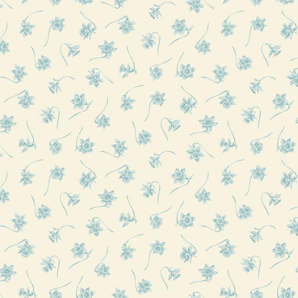Bluebird cream-blue floral