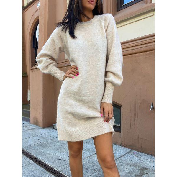 Lulu Knit Dress O-Neck - Birch Melange