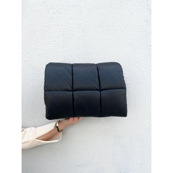 Wanda Faux Leather Clutch Bag - Black