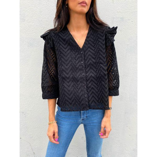 Josa 3/4 Frill Shirt - Black