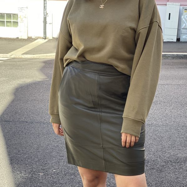Francie Mini Leather Skirt Green