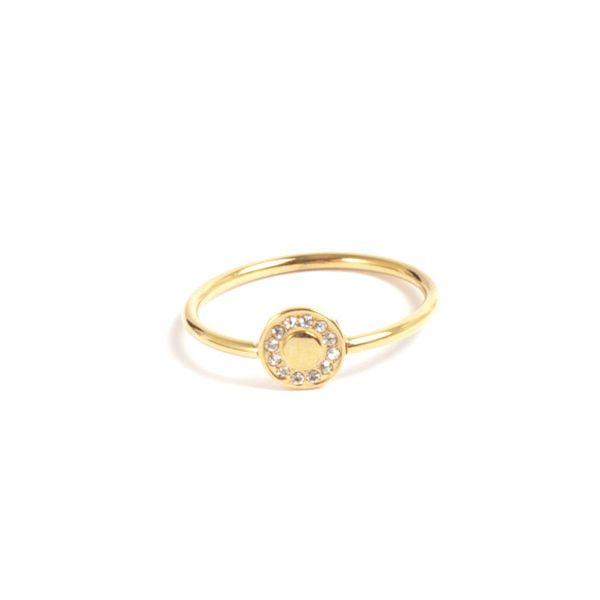 Ring steel w/crystal edge 7mm 14K gold
