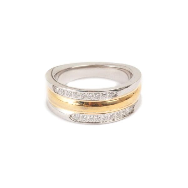 Ring steel w/gold 3 rows