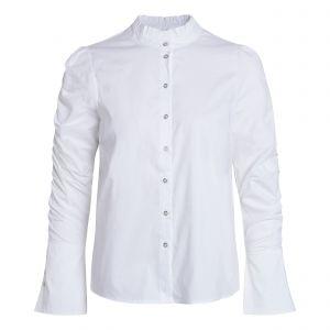 Sandy Elastic Sleeve White Shirt