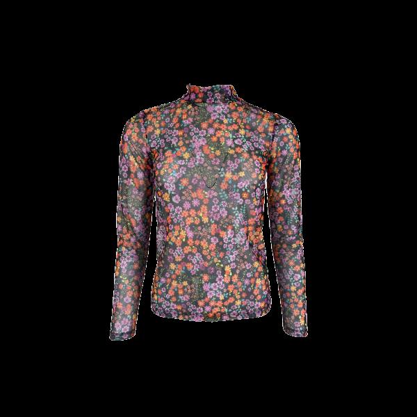 MILANO black flower mesh blouse