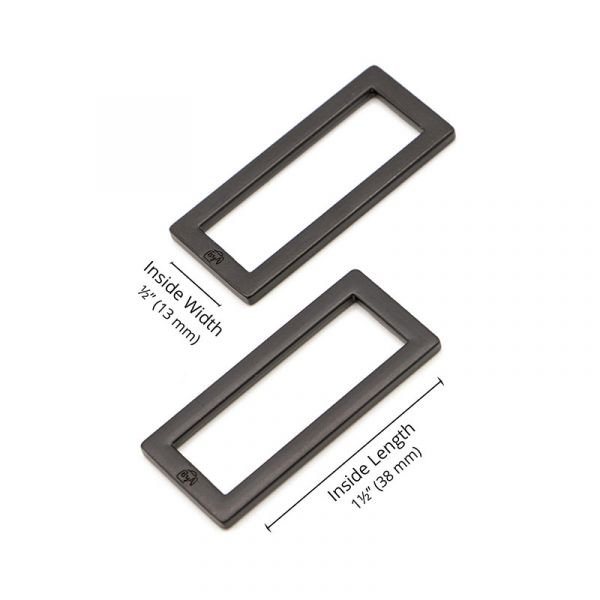 By Annie rectangle ring black 2 pack
