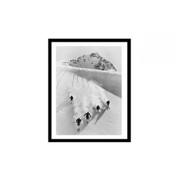 Glass picture w/frame five men skiing downhill 80cm x 120cm.
