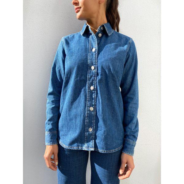 Ofelia Basic Mid Blue Denim Shirt