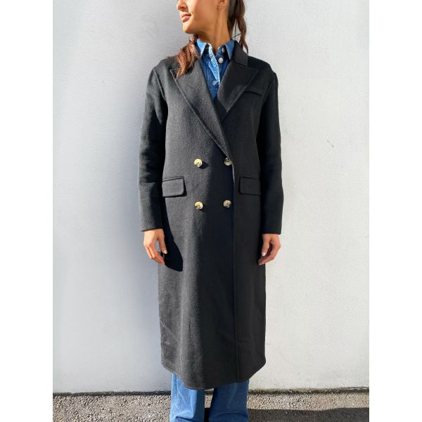 Ama Handmade Wool Coat - Black